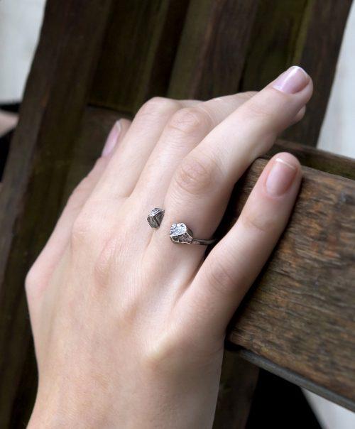 טבעת סלעים פתוחה מושחר מט