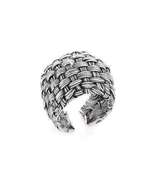 basket silver weave ring