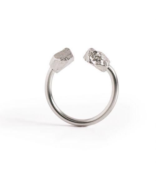 טבעת סלעים פתוחה כסף