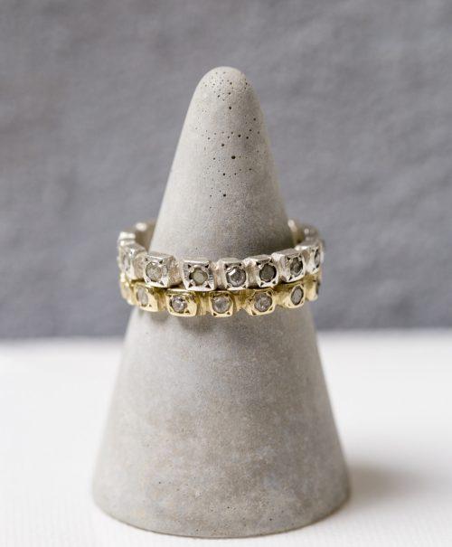 טבעת זהב יהלומים גולמיים אפורים פרופיל