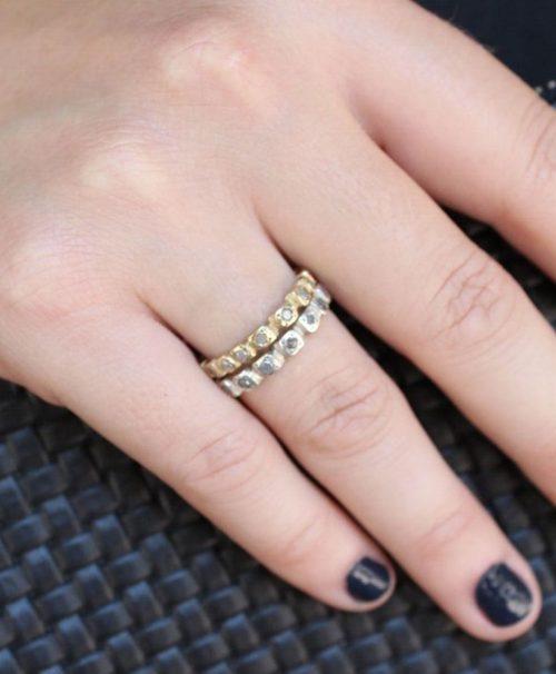 טבעת זהב יהלומים גולמיים אפורים 3