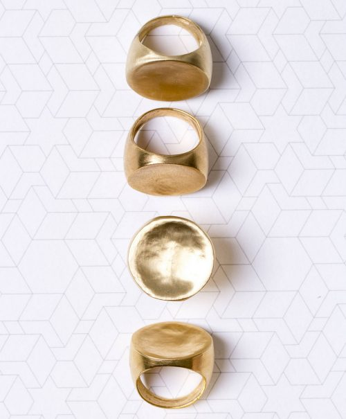 טבעת זהב עגולה ושטוחה פרופיל