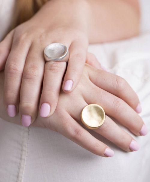 טבעת זהב עגולה ושטוחה 1