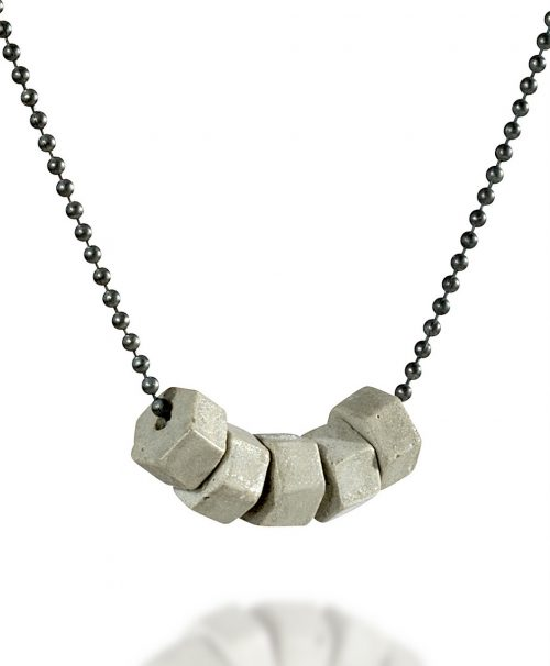 15-Concrete_Hexagon_Necklace-Grey_&_Black-BAARA_Jewelry