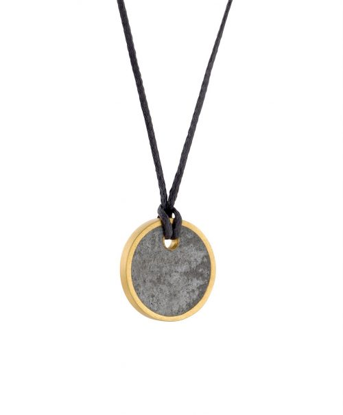 19-Unisex_Concrete_Circle_Necklace-Small_Gold5-BAARA_Jewelry
