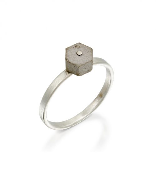 22-Concrete_Hexagon_Ring-Silver-BAARA_Jewelry
