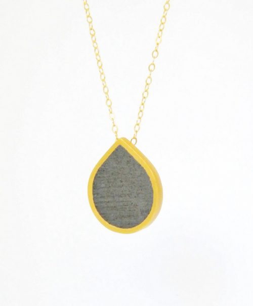 Drop Concrete Necklace-Gold-BAARA Jewelry1 square